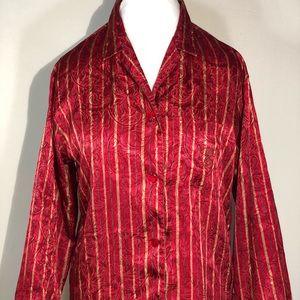 Victorias Secret Satin Red Gold Blouse Pajama